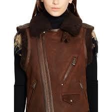 biker vest polo ralph lauren shearling biker vest in brown lyst