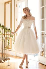 tea length short wedding dress with sleeves deer pearl flowers