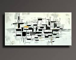 Modern Art Home Decor 75 Large Original Abstract Black White Gray Gold