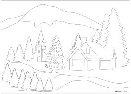 Coloriage paysage hiver de noel a imprimer et colorier