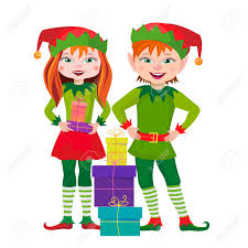 two elf with gifts for christmas royalty free cliparts vectors