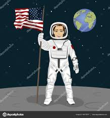 Moon Flag From Earth Young Astronaut Standing On The Moon Holding Usa Flag On The