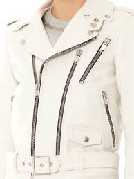 white leather motorcycle jacket saint laurent leather biker jacket in white lyst