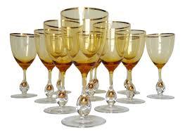 c 1960s italian handblown amber u0026 gilt gold crystal wine glasses