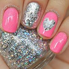 wedding nail designs cute pink and sparkley w heart nails