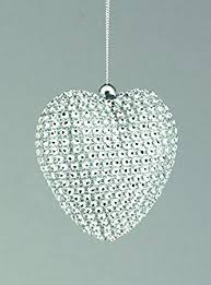 Blue Silver Christmas Decorations Uk by Set Of 3 80mm Christmas Decorations Silver Diamante Heart
