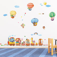 Nursery Stickers Amazon Com Decowall Da 1406 Animal Train U0026 Air Balloons Peel