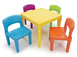White Kids Table And Chair Set - table set 4 chair kids tot tutors plastic play furniture child fun