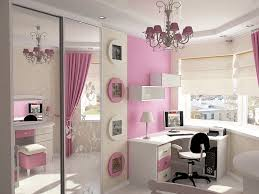 pink girls bedroom ideas for small rooms with large mirrors and