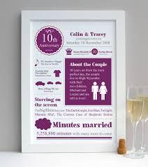 tenth wedding anniversary personalised tenth wedding anniversary print by afewhometruths