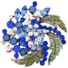 blue flower bridal wedding sapphire crystal pin brooch and pendant