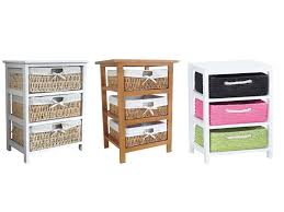 White Bedroom Drawer Units Maize Storage Unit 3 Drawer Wood Organiser Basket Drawers White
