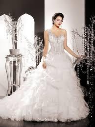 One Shoulder Wedding Dress One Shoulder Organza Winter Wedding Dress With Ruffled Skirt