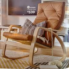 Rocking Chair Or Glider Ikea Poang Rocking Chair Seglora Natural Leather Cover Birch