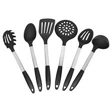 Red Kitchen Utensil Set - cooking utensils premium 6 piece silicone and stainless steel