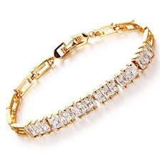 girl gold bracelet images Girl era gold plated 6 set of square clear crystal bling tennis jpg