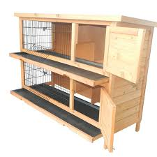 pawhut 2 story stacked wooden outdoor bunny rabbit hutch guinea