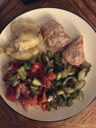 day 23 dinner a very filling meal baked pork chops greek