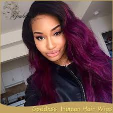 black women with purple hair purple malaysian virgin hair material ombre full lace wig wavy