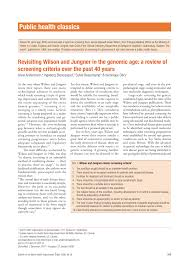 Apogee Physicians The Best In Revisiting Wilson And Jungner In The Genomic Age A Review Of