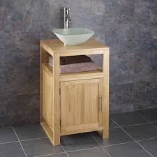 clickbasin cube solid oak narrow bathroom vanity unit with square