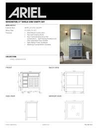 ariel kensington single 37 inch transitional bathroom vanity set