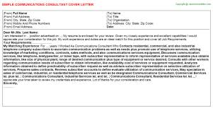 communications consultant cover letter