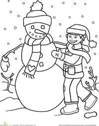 color the snowman worksheet education com