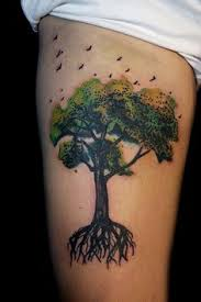 tree thigh green tree birds tree thigh tattoos