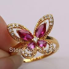 pretty gold rings images Exquisite ruby 18k yellow gold filled womens girls pretty ring jpg