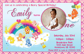 personalized photo invitations cmartistry care bears heart