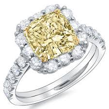 canary engagement rings 4 01 ct canary cushion cut engagement ring si2