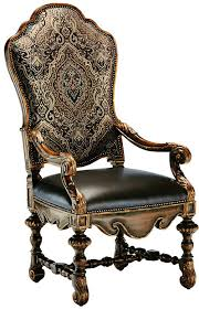 dining room chair with arms covered in a combination of leather and