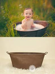 Baby Bathtub Prop Rust Brown Metal Tub Vintage Style Newborn Infant Child