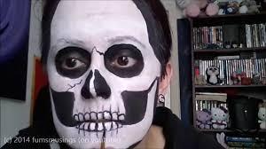 basic skull face painting halloween make up tutorial youtube