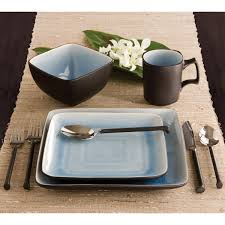 Dining Dish Set Ty Pennington Style Square Bali Hai 16pc Dinnerware Set