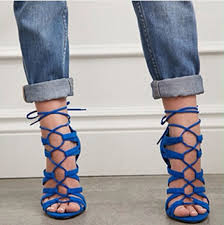 royal blue suede leather cut out strappy high heel sandals lace up
