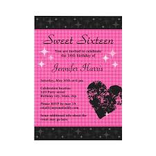 trendy pink and black sweet sixteen party invitation