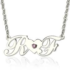 initials jewelry silver initials necklace