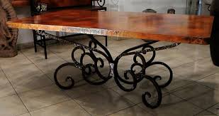 Copper Top Dining Room Tables Nice Ideas Wrought Iron Dining Table Base Stunning Design Wrought