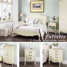 Shabby Chic Bedroom Furniture Juliette Shabby Chic Champagne Double Bed 5pc Bedroom Furniture