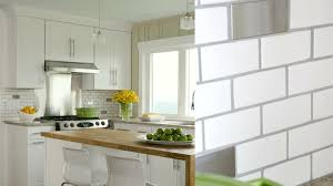 gray subway tile kitchen l shape classic wood cabinet l shape