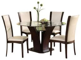 Round Espresso Dining Table Homelegance Daisy Round Glass Top Dining Table In Espresso