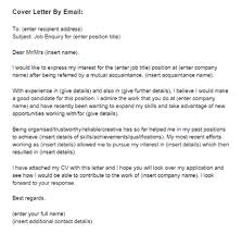email cover letter cover letter for a by email sle just letter templates