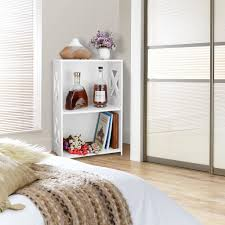 White 2 Shelf Bookcase by New 2tier Wood Plastic Composite Shelf Unit Cd Book Shoe Storage