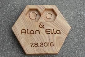 wedding ring holder 37 00 usd personalized modern wood ring box hexagon wedding ring
