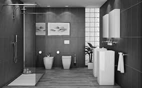 bathroom wall tile design ideas black ceramic freestanding sink and water closet on gray ceramic