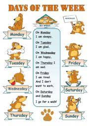 days of the week classroom poster for kids