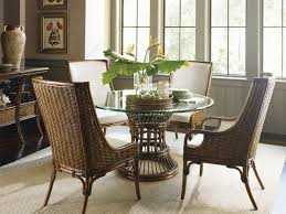 tropical dining room furniture tommy bahama home bali hai tropical 5 piece single pedestal dining