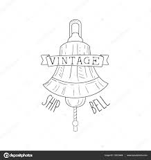 ships bell vintage sea and nautical symbol hand drawn sketch label